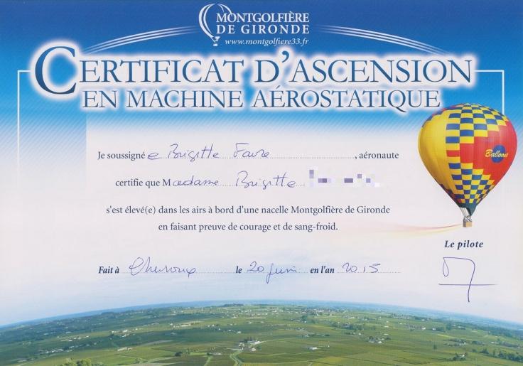 certificat montgolfière pix